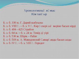 Хронологиялық жұмыс Кім тапқыр Б. з. б. 330 ж. Г. Дарий шабуылы Б. з. б. VII