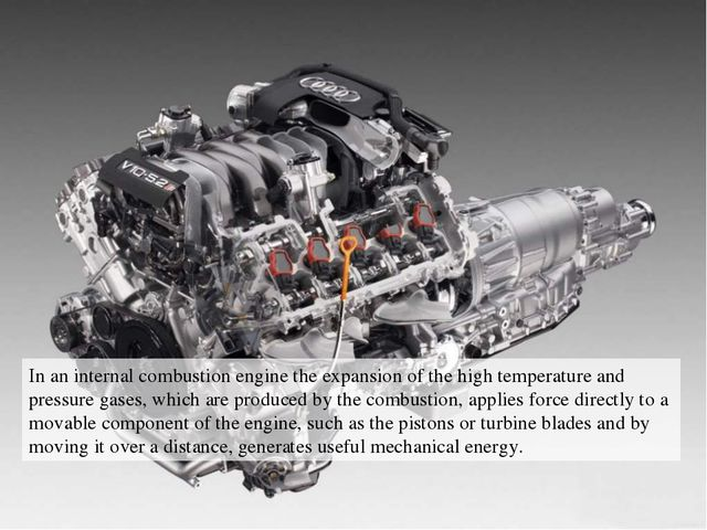 In an internal combustion engine the expansion of the high temperature and pr...