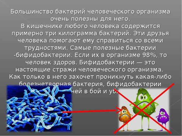 Большинство бактерий человеческого организма очень полезны для него. В кишечн...