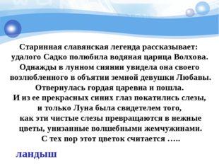 Старинная славянская легенда рассказывает: удалого Садко полюбила водяная ца