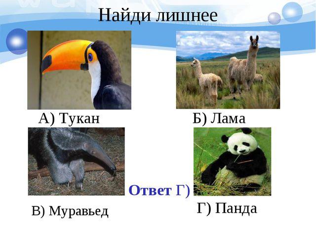Ответ Г) А) Тукан Б) Лама В) Муравьед Г) Панда Найди лишнее