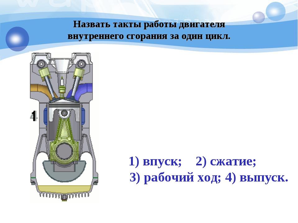 Назвать такты работы двигателя внутреннего сгорания за один цикл. 1) впуск;...
