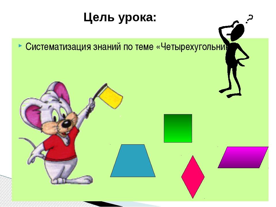 Систематизация знаний по теме «Четырехугольники» Цель урока:
