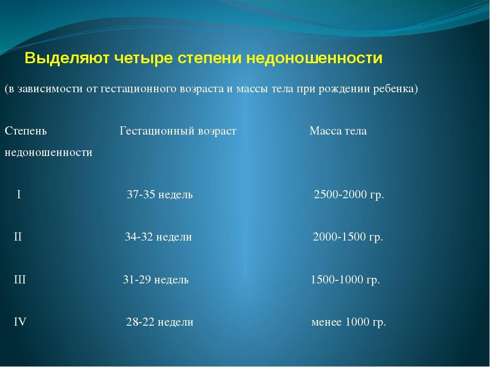 Выделяют четыре степени недоношенности (в зависимости от гестационного возрас...