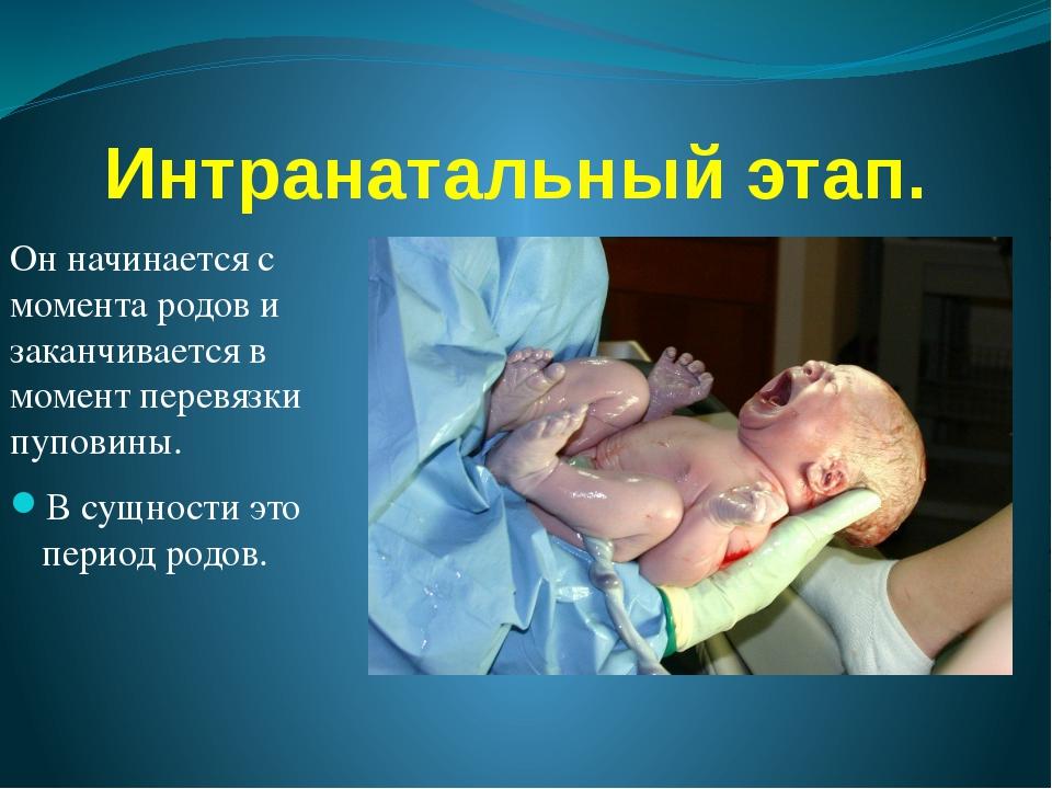 Интранатальный этап. Он начинается с момента родов и заканчивается в момент п...