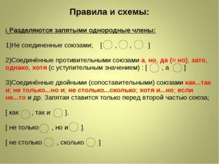 Правила и схемы: I.Разделяются запятыми однородные члены: 1)Не соединенные с