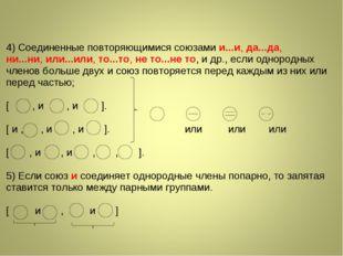 4) Соединенные повторяющимися союзамии...и, да...да, ни...ни,или...или,то.