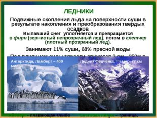 ЛЕДНИКИ Антарктида, Ламберт – 400 миль Ледник Федченко, Памир, 77 км Подвижны