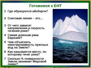 Готовимся к ЕНТ 1 Гдеобразуются айсберги? Антарктида и Гренландия 2 Снеговая