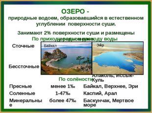 ОЗЕРО - природные водоем, образовавшийся в естественном углублении поверхност