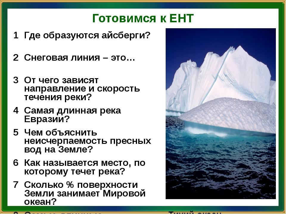 Готовимся к ЕНТ 1 Гдеобразуются айсберги? Антарктида и Гренландия 2 Снеговая...