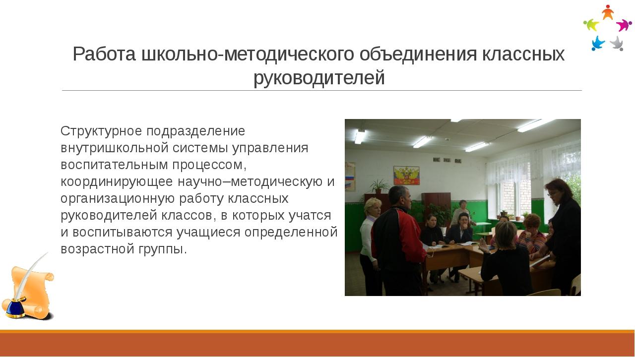 Работа школьно-методического объединения классных руководителей Структурное п...