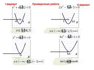 Проверочная работа I вариант II вариант -4 3 -3 1 2,5 0,5