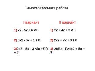 Самостоятельная работа Iвариант IIвариант 1)x2+5x+6< 0 1)x2+ 4x+3< 0 2)5x2-6