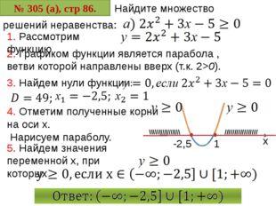 № 305 (а), стр 86. Найдите множество 2. Графиком функции является парабола ,