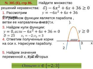 № 305 (б), стр 86. Найдите множество 2. Графиком функции является парабола ,