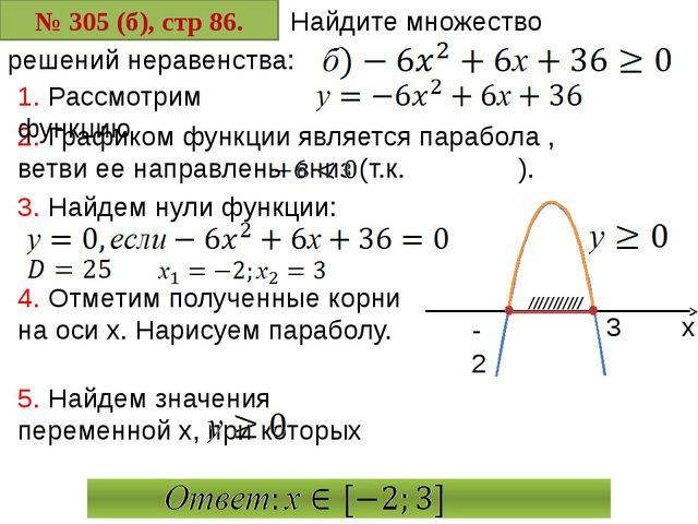 № 305 (б), стр 86. Найдите множество 2. Графиком функции является парабола ,...