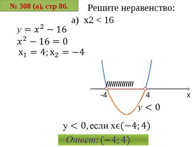 № 308 (а), стр 86. Решите неравенство: а) x2 < 16 х -4 4 //////////////
