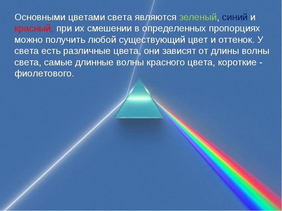 Основными цветами света являются зеленый, синий и красный, при их смешении в...