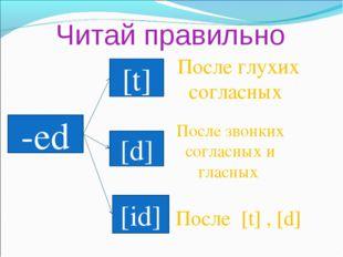 Читай правильно -ed [t] [d] [id] После глухих согласных После звонких согласн