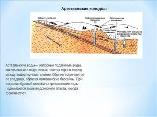 Артезианские воды— напорные подземные воды, заключенные в водоносных пластах