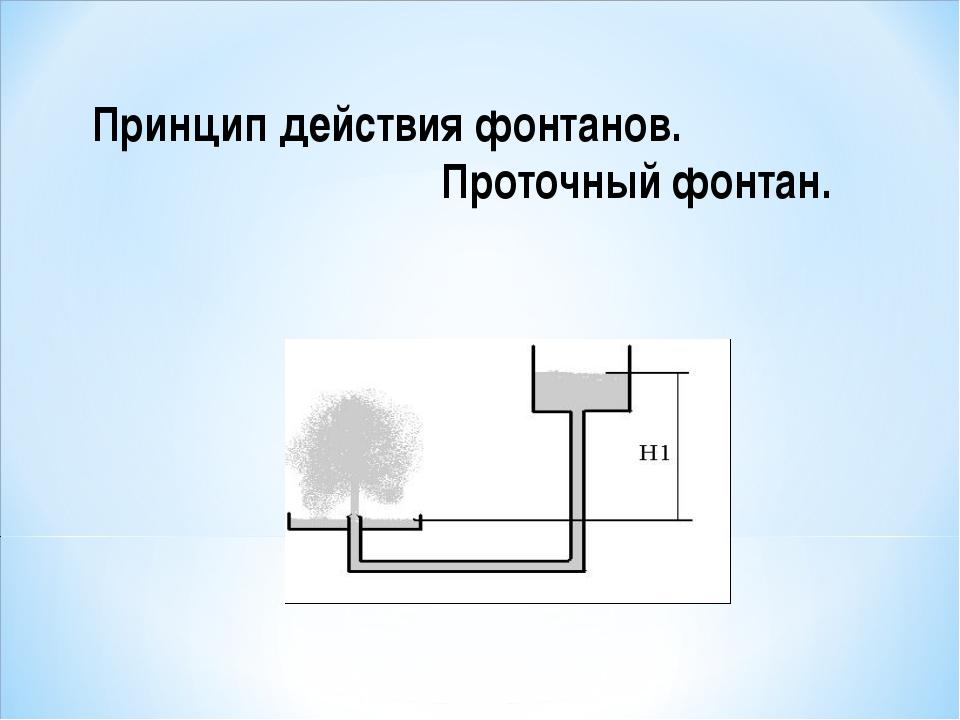 Принцип действия фонтанов. Проточный фонтан.