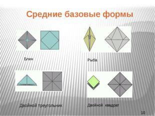 Средние базовые формы Двойной треугольник Блин Рыба Двойной квадрат