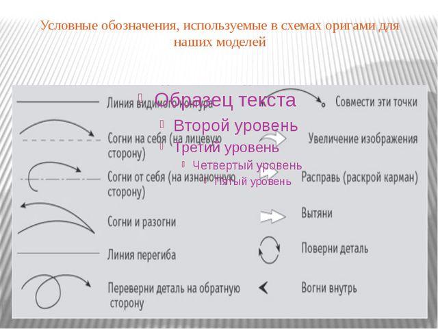 Условные обозначения, используемые в схемах оригами для наших моделей