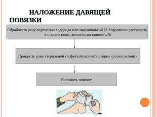 НАЛОЖЕНИЕ ДАВЯЩЕЙ ПОВЯЗКИ Обработать рану перекисью водорода или марганцовко