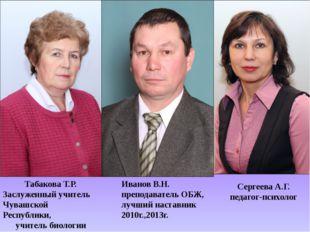 Табакова Т.Р. Заслуженный учитель Чувашской Республики, учитель биологии Серг