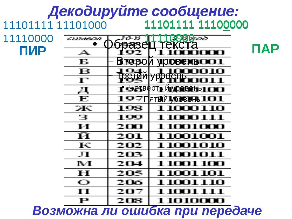 11101111 11100000 11110000 11101111 11101000 11110000 ПИР ПАР 11101111 111000...