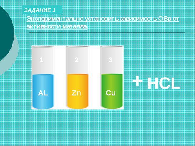 ЗАДАНИЕ 1 Экспериментально установить зависимость ОВр от активности металла....