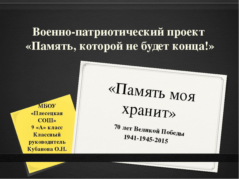 «Память моя хранит» 70 лет Великой Победы 1941-1945-2015 МБОУ «Плесецкая СОШ»...