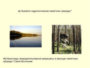 а) Назовите гидрологические памятники природы? б) Какие виды природопользован