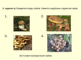 9. задание а) Определите виды грибов. Укажите съедобные и ядовитые грибы. б)