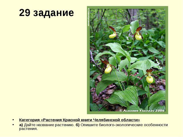 29 задание Категория «Растения Красной книги Челябинской области» а) Дайте на...