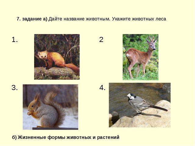 7. задание а) Дайте название животным. Укажите животных леса б) Жизненные фор...