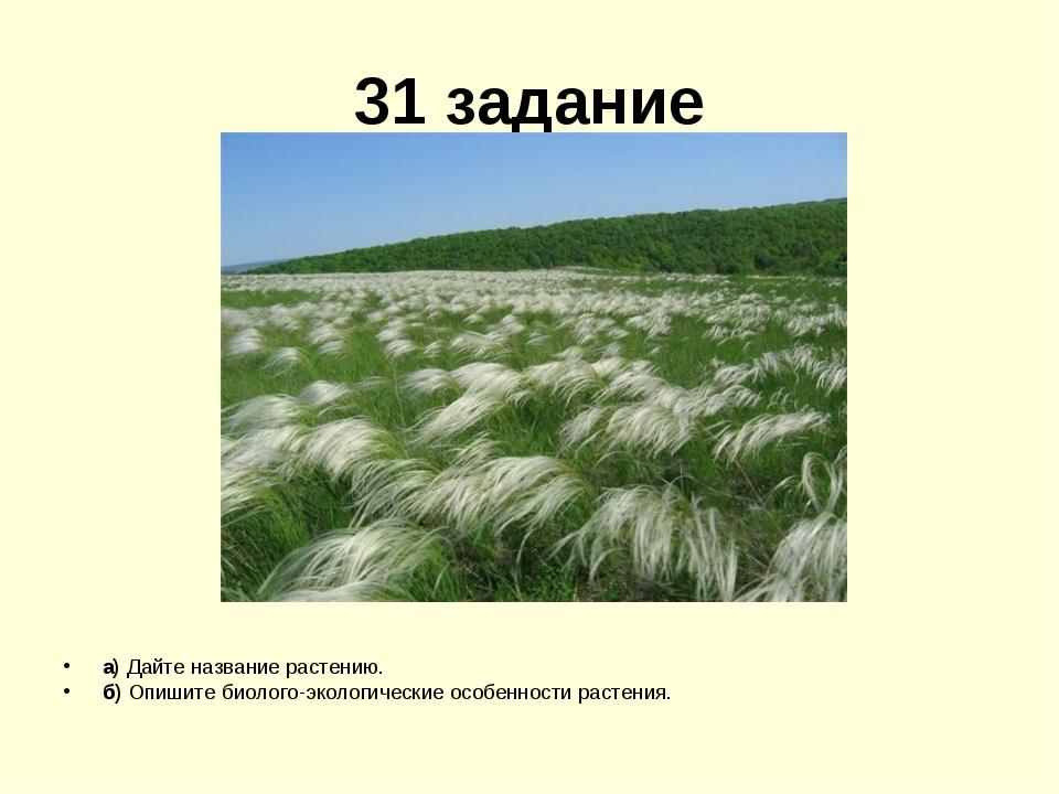 31 задание а) Дайте название растению. б) Опишите биолого-экологические особе...