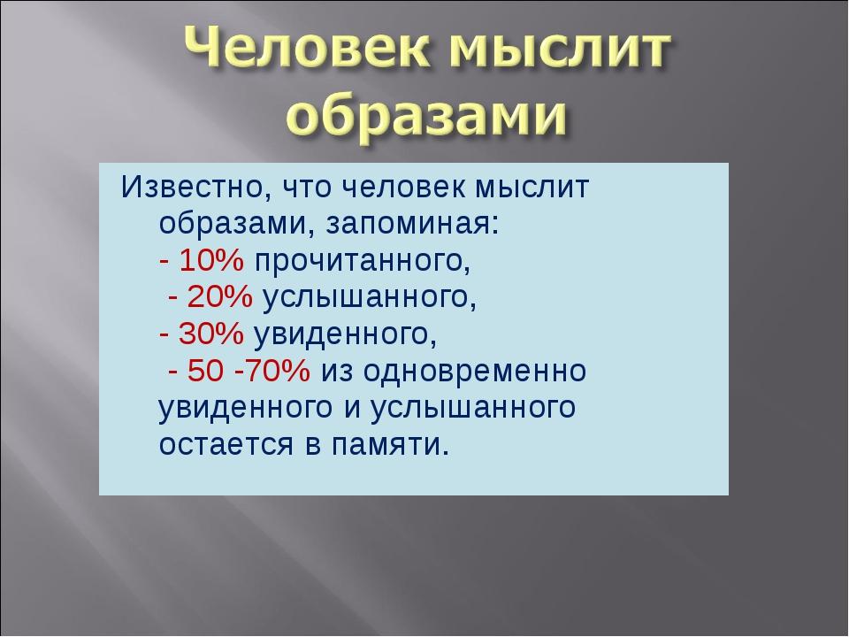Известно, что человек мыслит образами, запоминая: - 10% прочитанного, - 20% у...