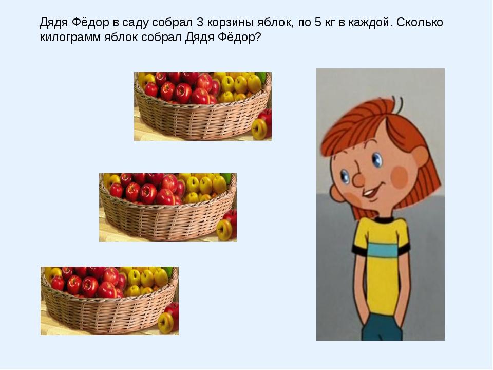Дядя Фёдор в саду собрал 3 корзины яблок, по 5 кг в каждой. Сколько килограмм...