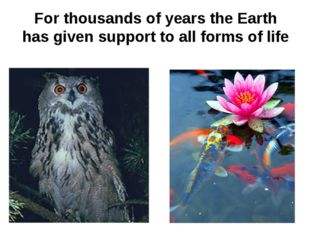 For thousands of years the Earth has given support to all forms of life