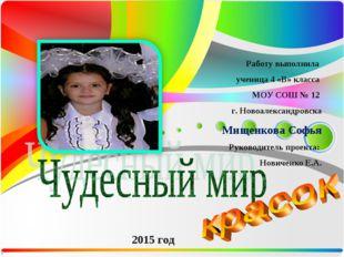 Работу выполнила ученица 4 «В» класса МОУ СОШ № 12 г. Новоалександровска Мище