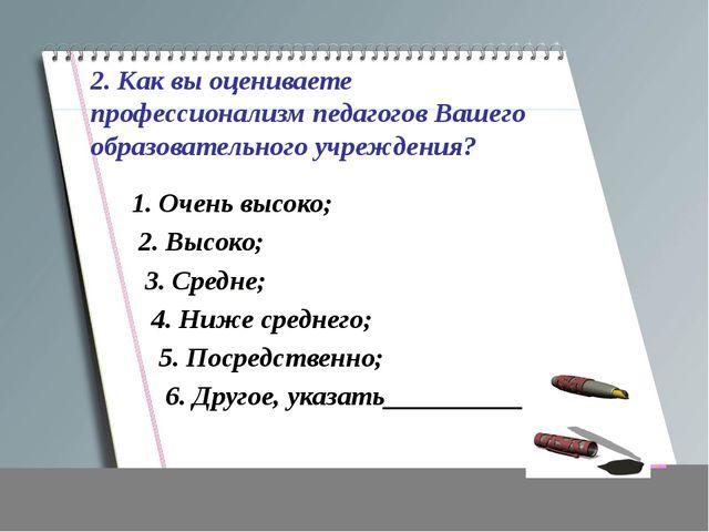 2. Как вы оцениваете профессионализм педагогов Вашего образовательного учрежд...