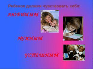 Ребенок должен чувствовать себя: ЛЮБИМЫМ НУЖНЫМ УСПЕШНЫМ