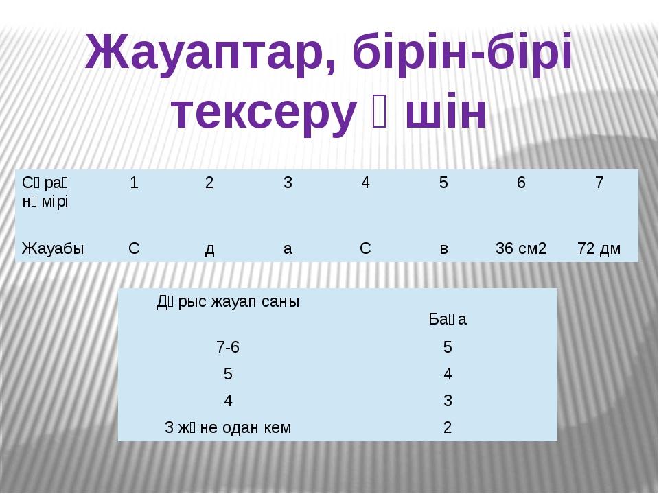 Жауаптар, бірін-бірі тексеру үшін Сұрақ нөмірі 1 2 3 4 5 6 7 Жауабы С д а С в...