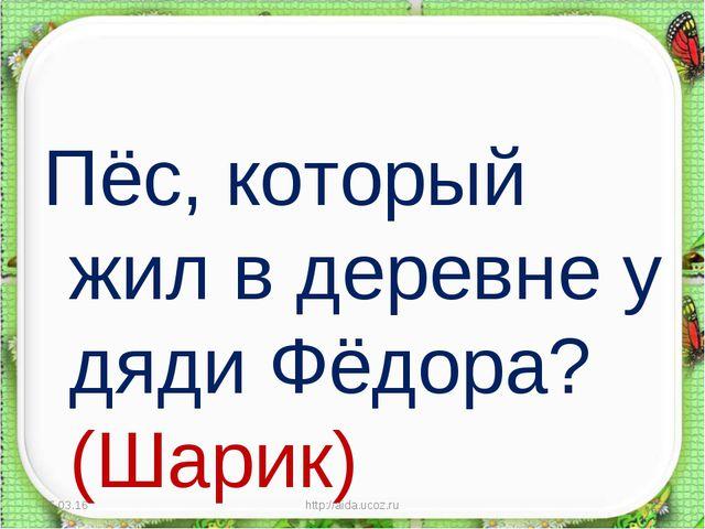 Пёс, который жил в деревне у дяди Фёдора? (Шарик) * http://aida.ucoz.ru * htt...