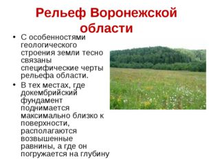 Рельеф Воронежской области С особенностями геологического строения земли тесн