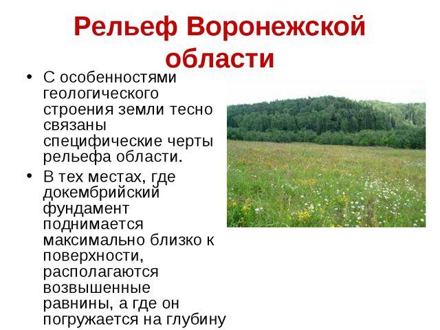 Рельеф Воронежской области С особенностями геологического строения земли тесн...