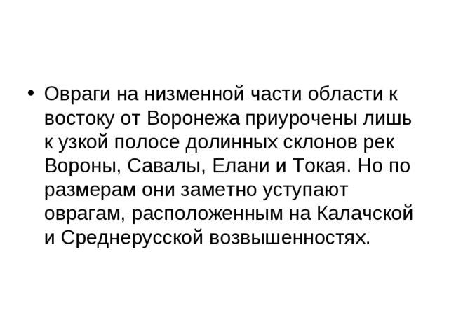 Овраги на низменной части области к востоку от Воронежа приурочены лишь к узк...