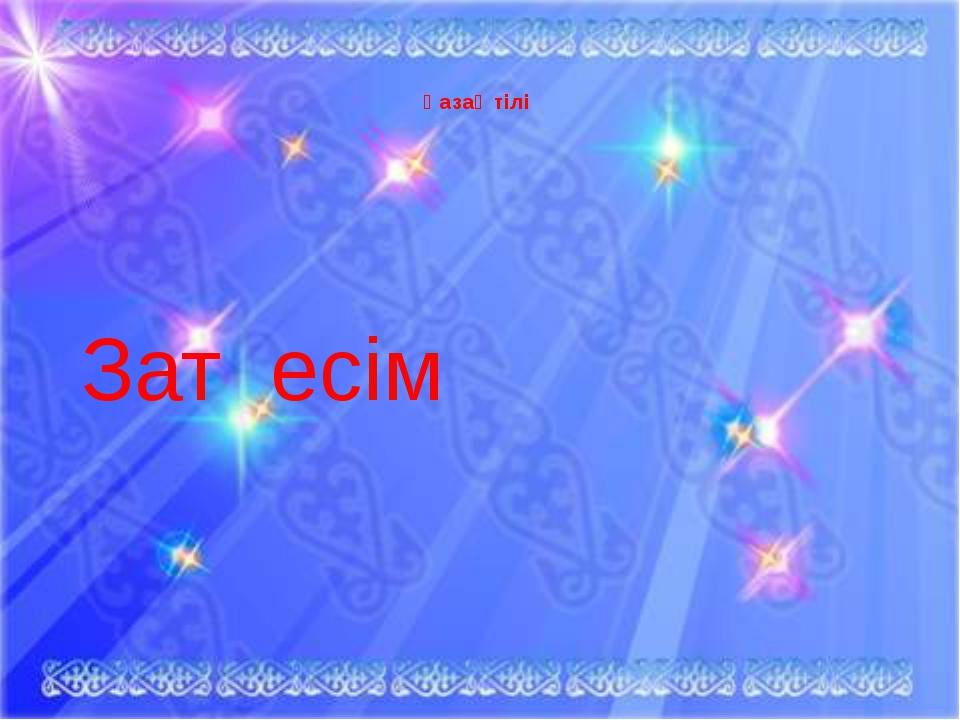 Қазақ тілі Зат есім